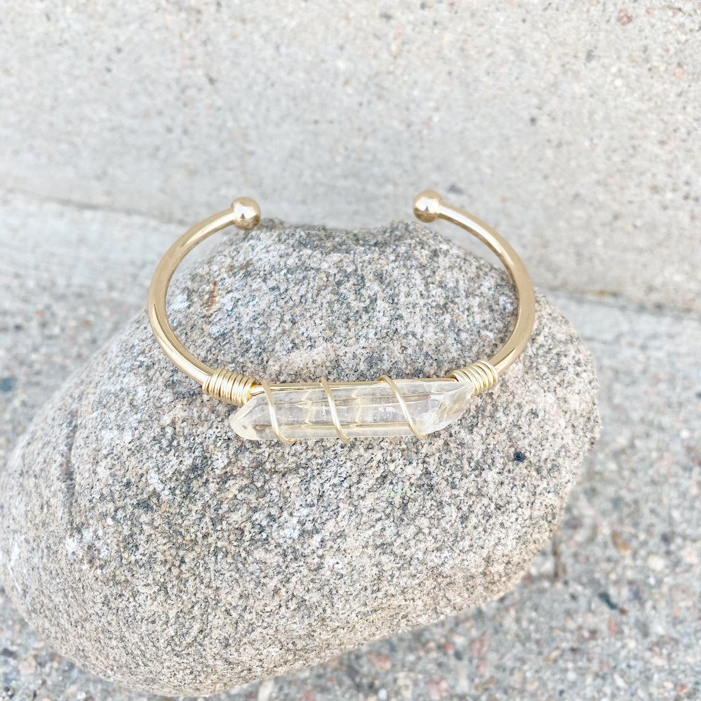 Wrapped Quartz Cuff Bracelet