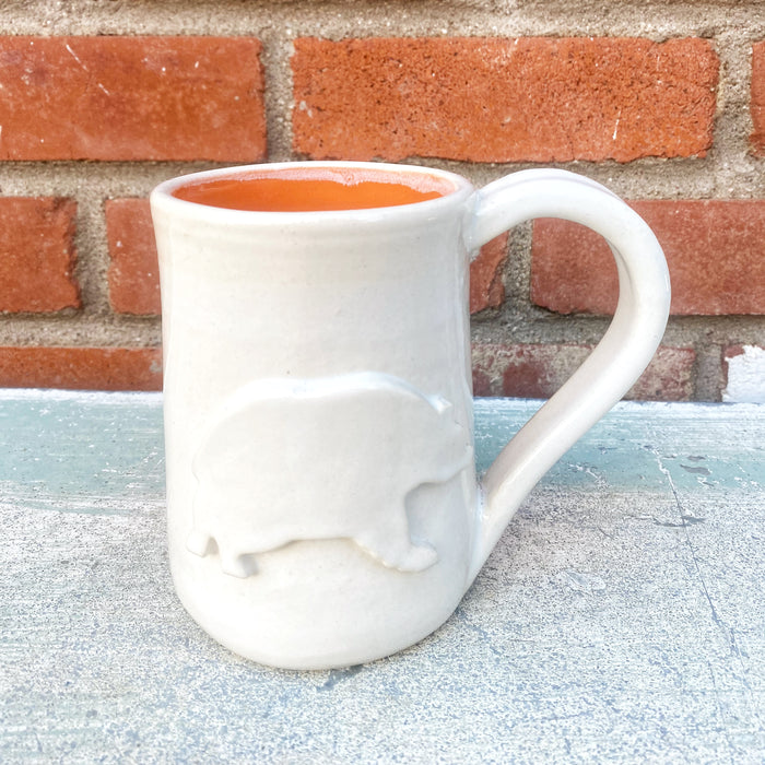 Hand-thrown Oversized White Out Bear Mug // 16oz