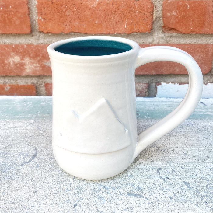 Hand-thrown Oversized White Out Mountain Mug // 16oz
