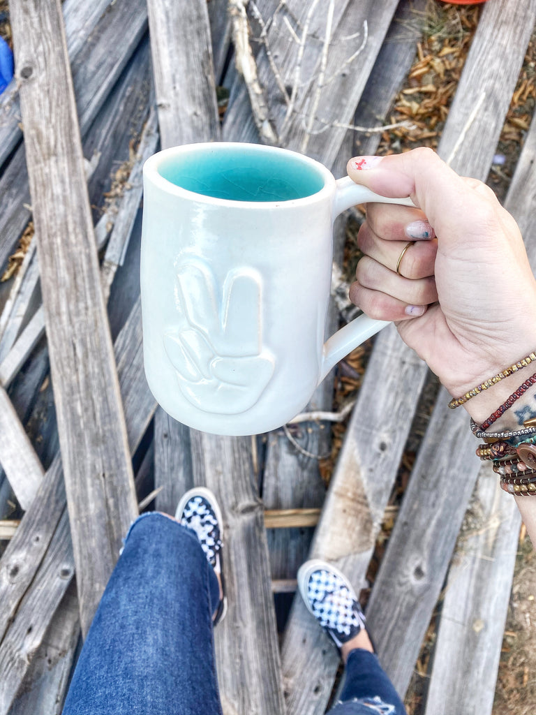 Hand-thrown Oversized White Out Peace Mug // 16oz