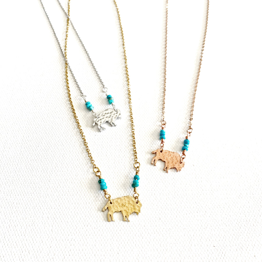Mini Hammered Turq Bison Necklace