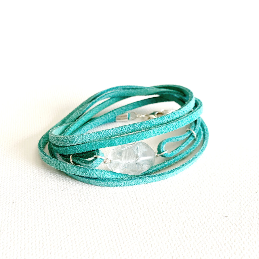 Quartz + Turq Leather Wrap Bracelet