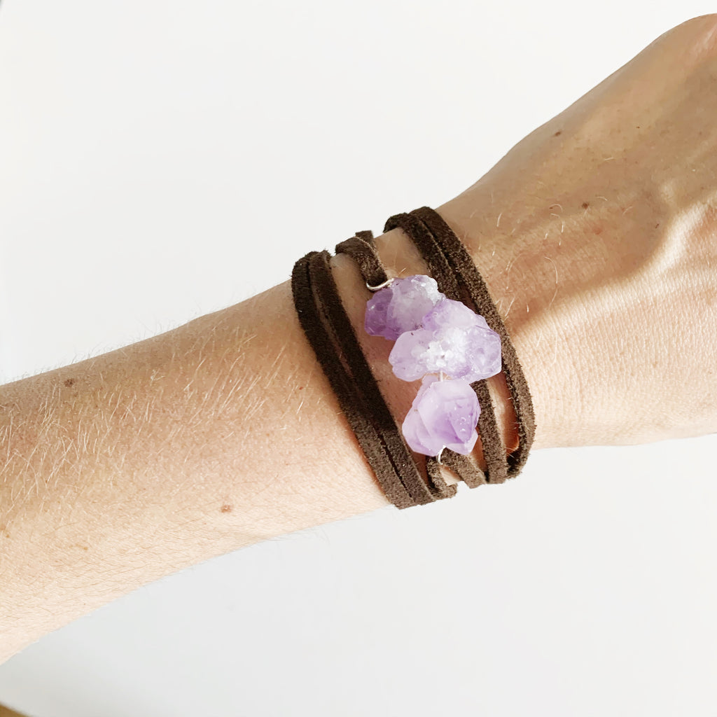 Amethyst + Leather Wrap Bracelet