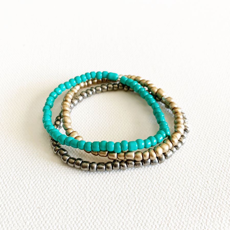 Metallic + Turq Stretchy Trio Bracelets