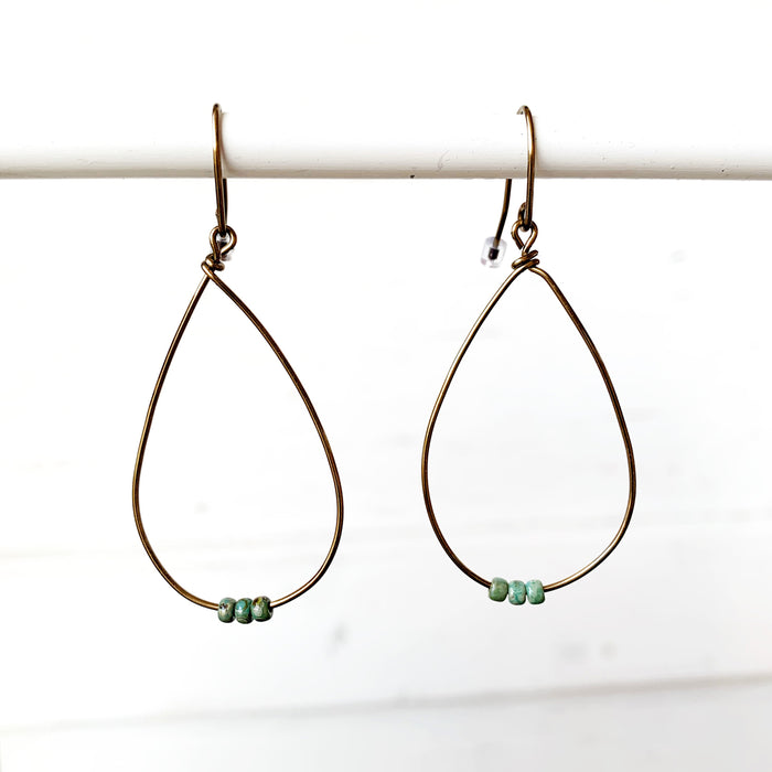 Copper Teardrop + Turq Earrings
