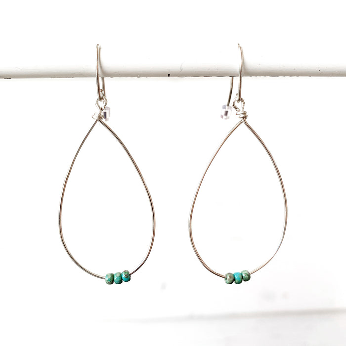 Silver Teardrop + Turq Earrings