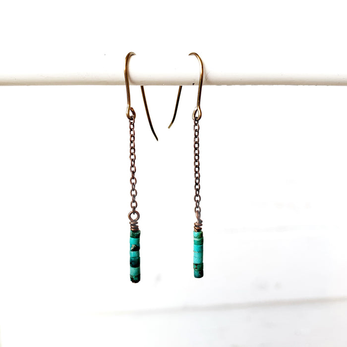 Copper Chain + Heishi Turq Earrings