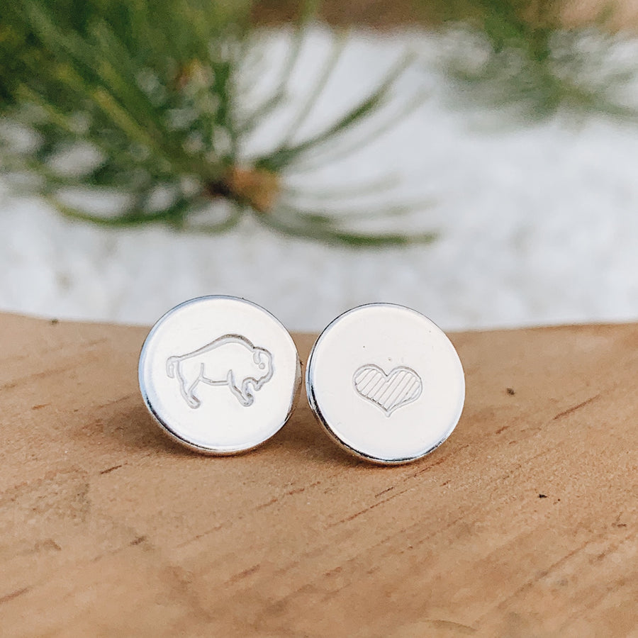 Bison Love Earrings // SILVER