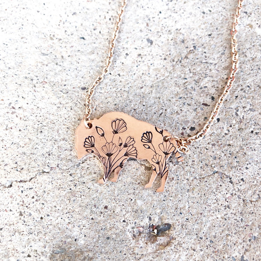 Wildflower Bison Necklace // Copper