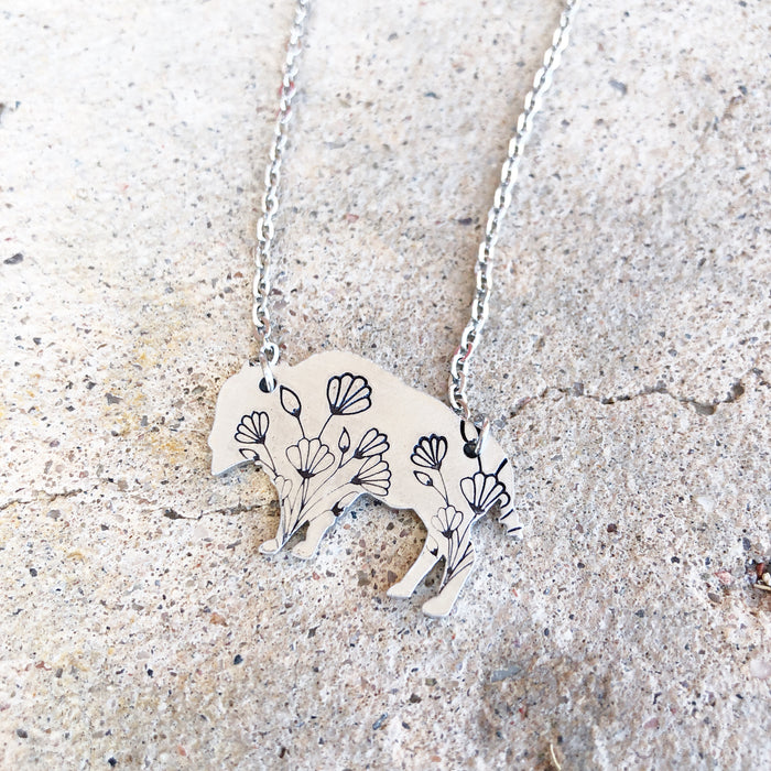 Wildflower Bison Necklace • Silver