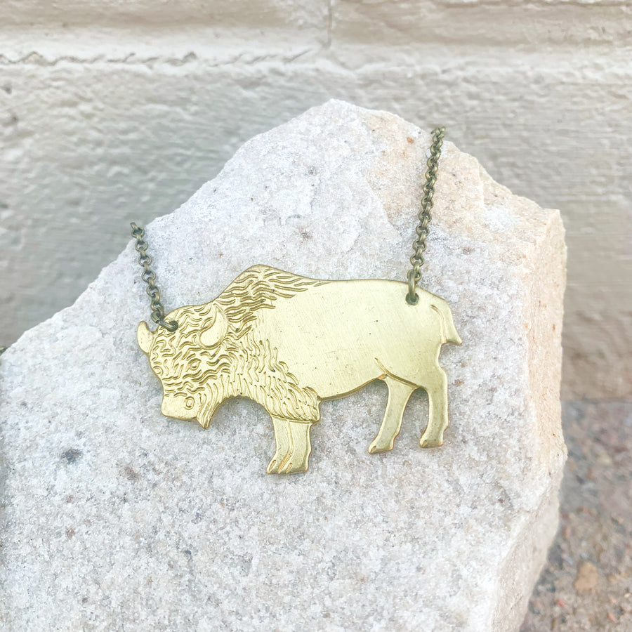 Brass Bison Etch Necklace // 18""
