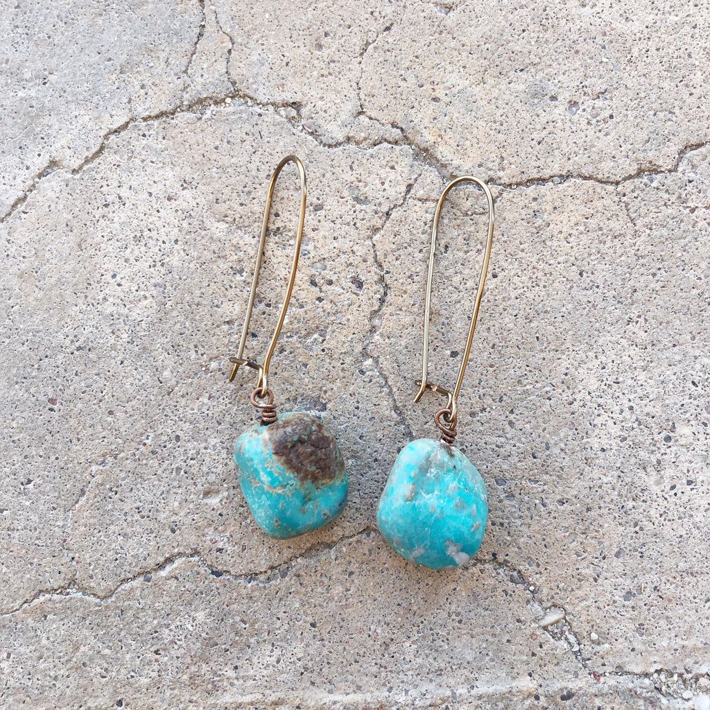 Turquoise Drop Earrings // Copper