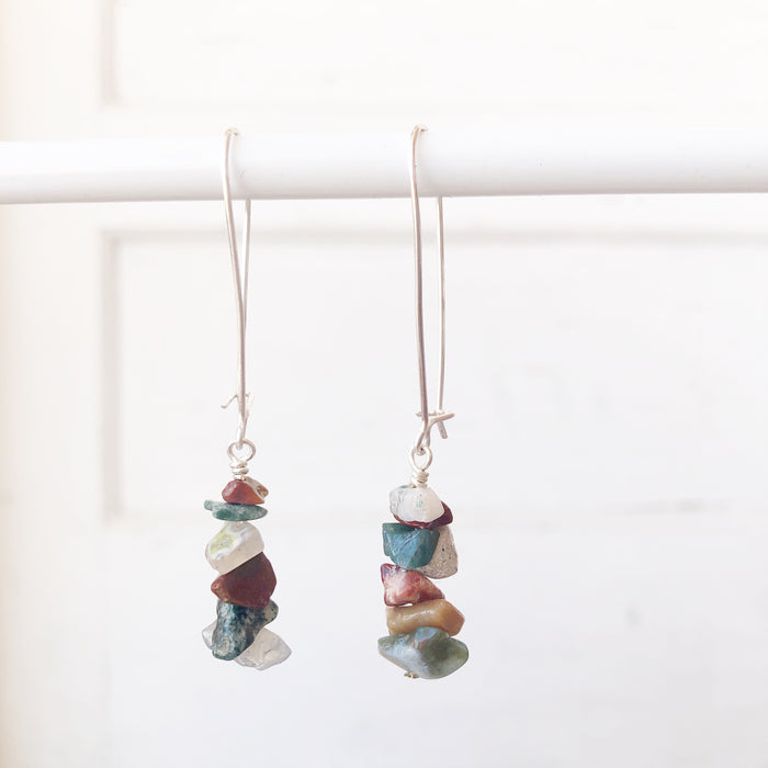 Jasper Cairn Drop Earrings // Silver