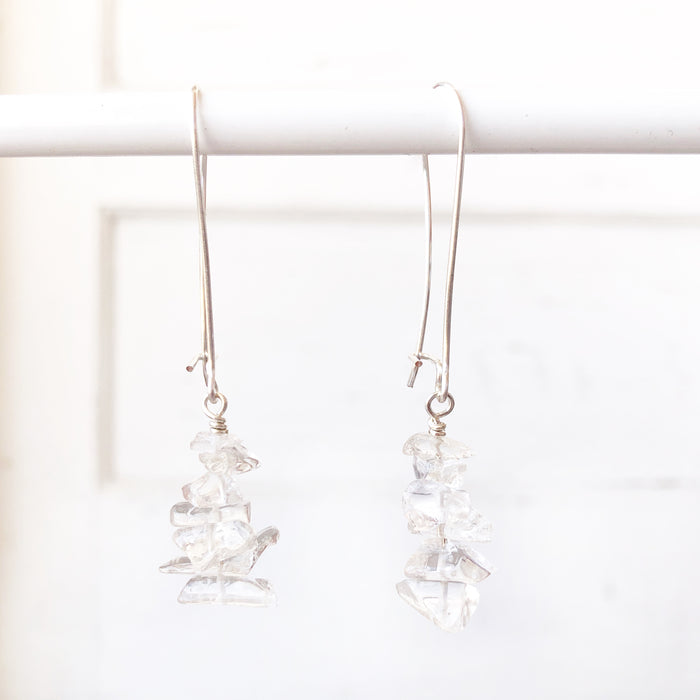 Quartz Cairn Drop Earrings // Silver