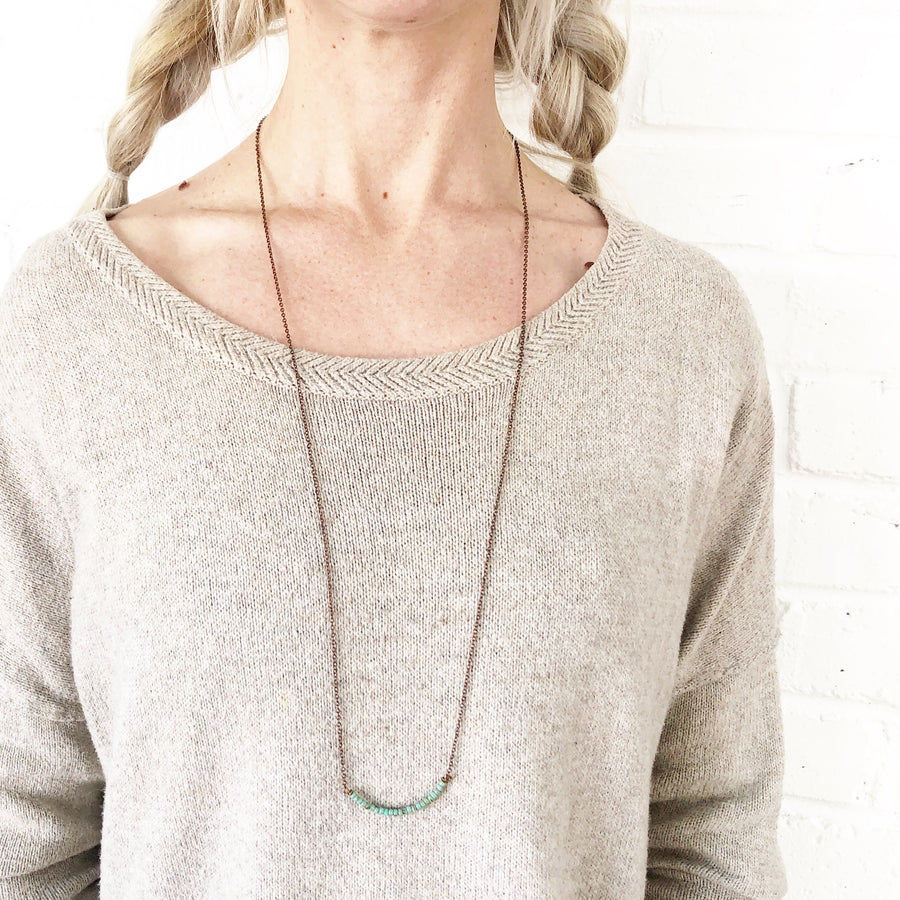 Long Turq + Copper Necklace // 35""