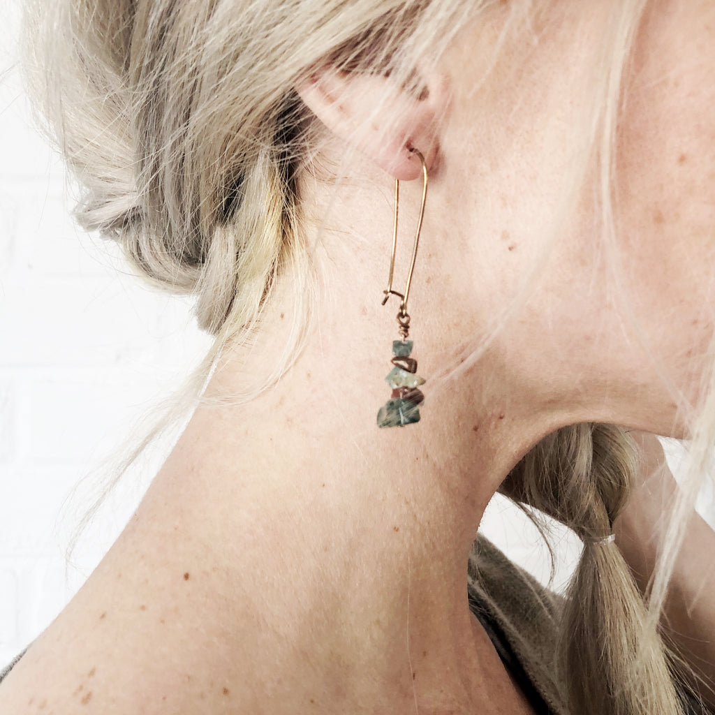 Jasper Cairn Drop Earrings // Copper