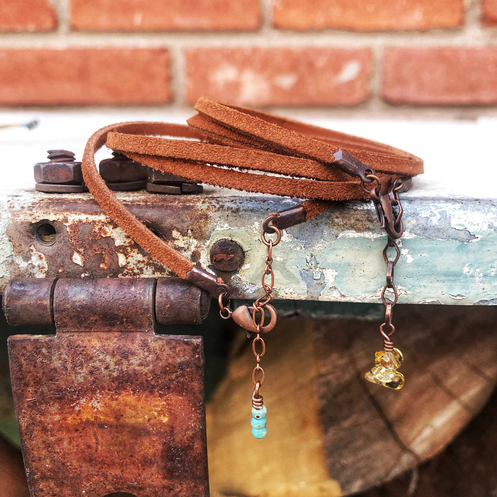 Prairie Leather Wrap // Citrine + Copper