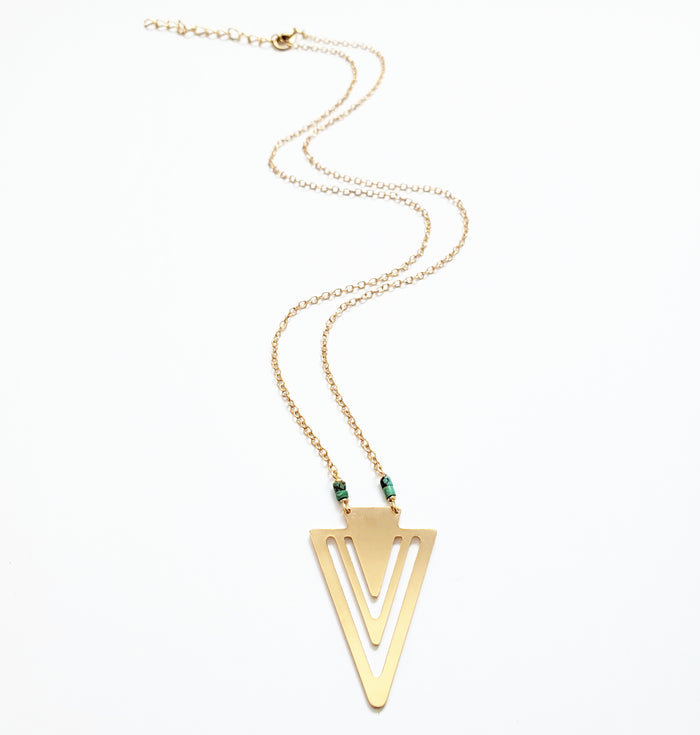 Gold Arrowhead + Heishi Turq Necklace