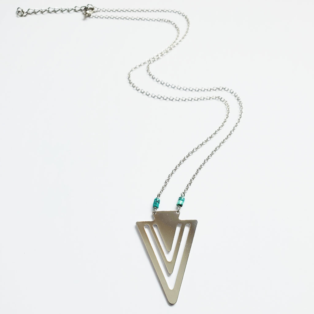 Silver Arrowhead + Heishi Turq Necklace