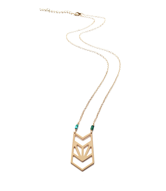 Gold Prism + Heishi Turq Necklace