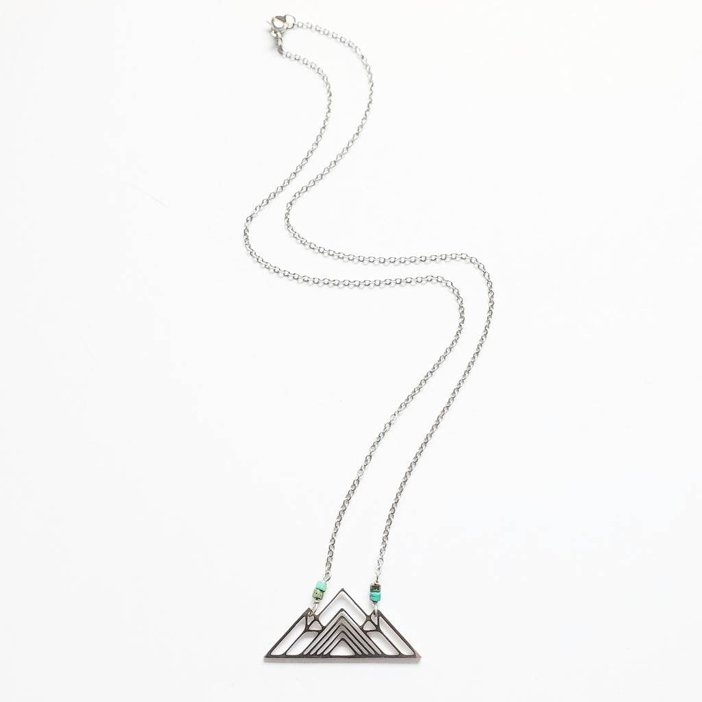 Silver Mountain + Heishi Turq Necklace