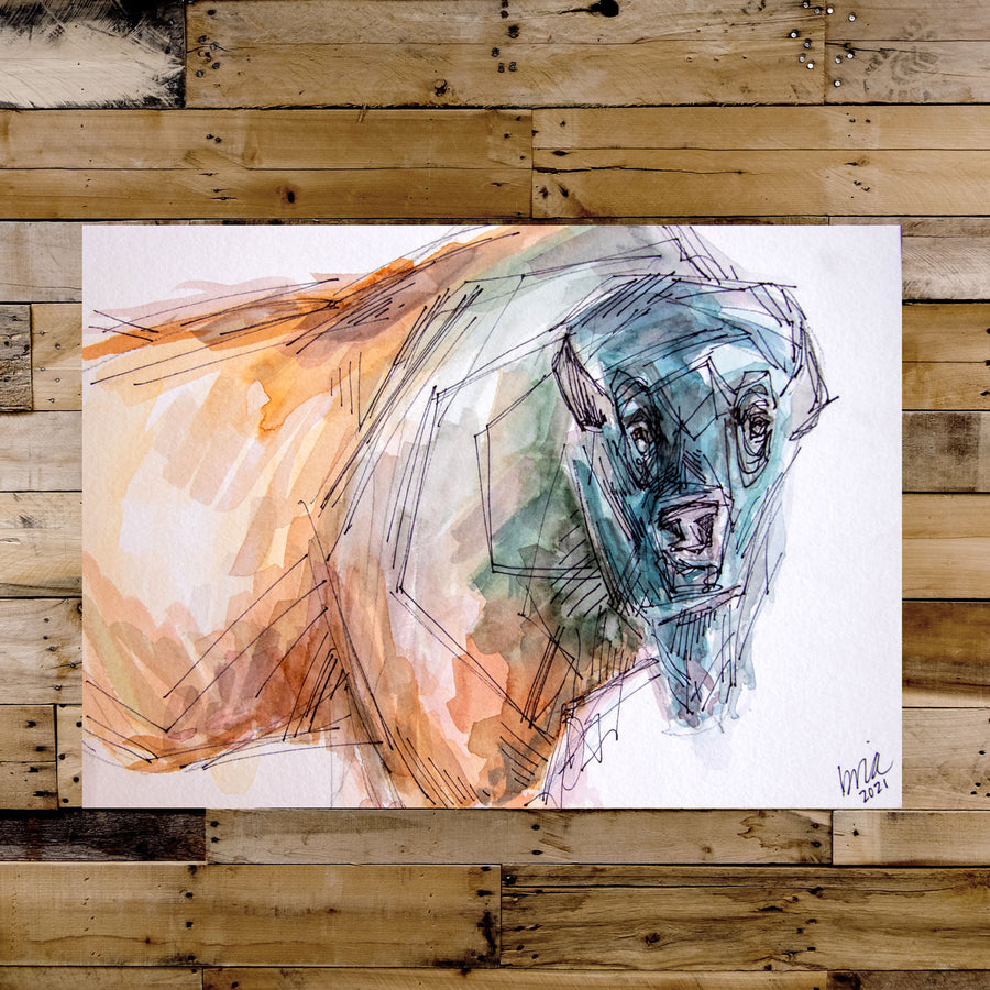 Bear the Bison Watercolor Original