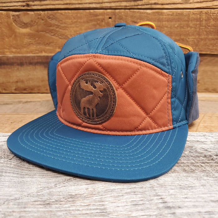Quilted Moose Ear Flap Cap // Burnt Orange + Azure