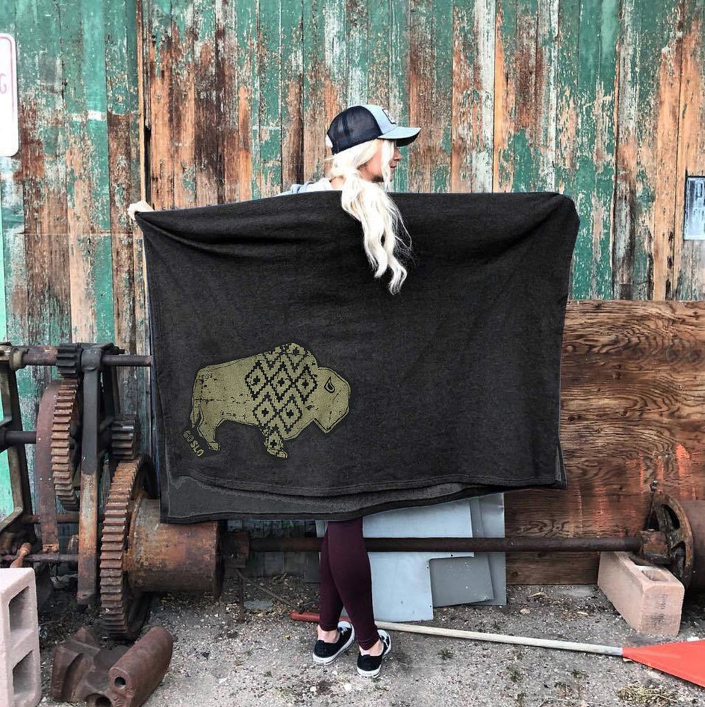 Metallic Gold Geo Bison Campfire Blanket