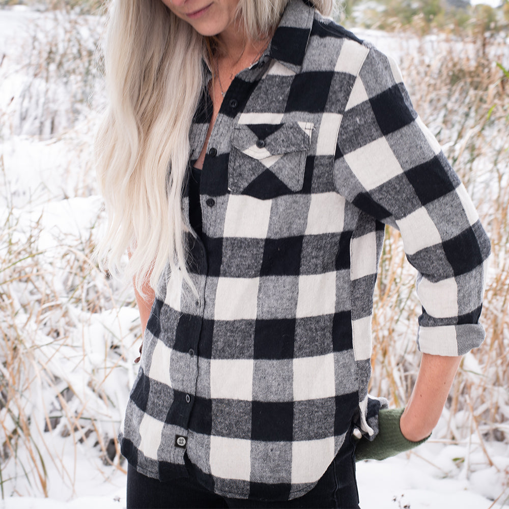Gals Flannel // Cream + Black