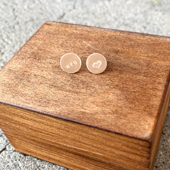 Wyoming Love Stud Earrings // Copper