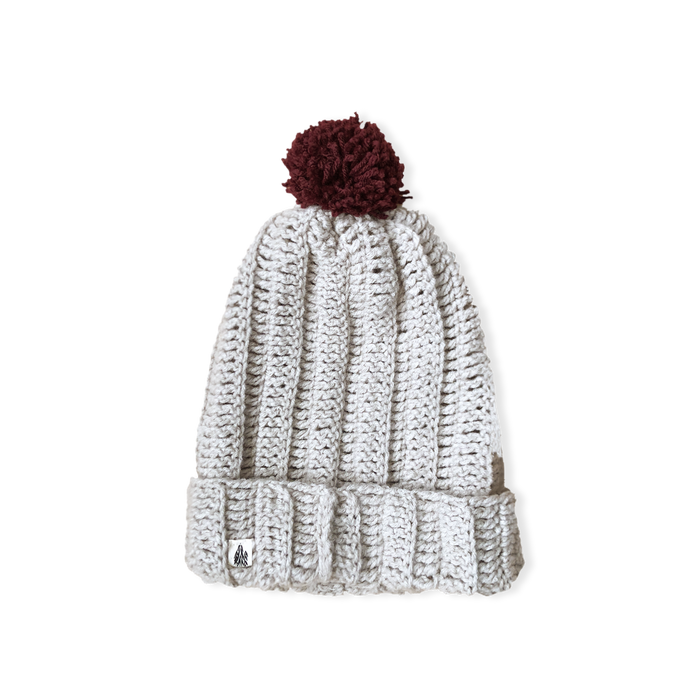 Toasty Grey Slouch Pommed Knit Cap