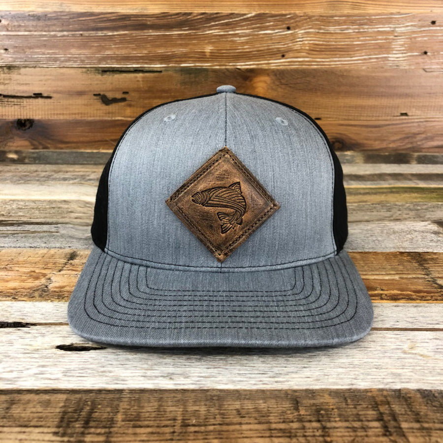 Leather Fish Twill Trucker Cap