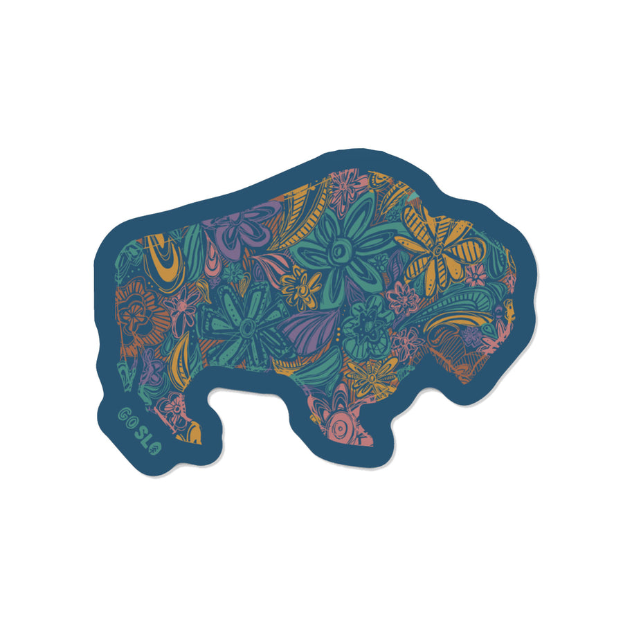 Floral Bison Sticker