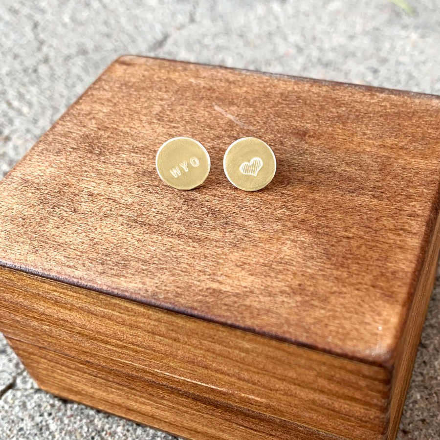 Wyoming Love Stud Earrings // Gold