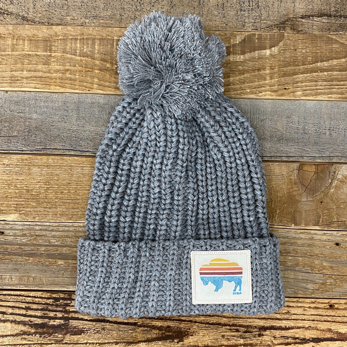 Sunset Bison Pom Knit Hat