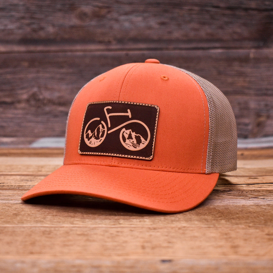 Bike The Tetons Leather Patch Trucker Cap