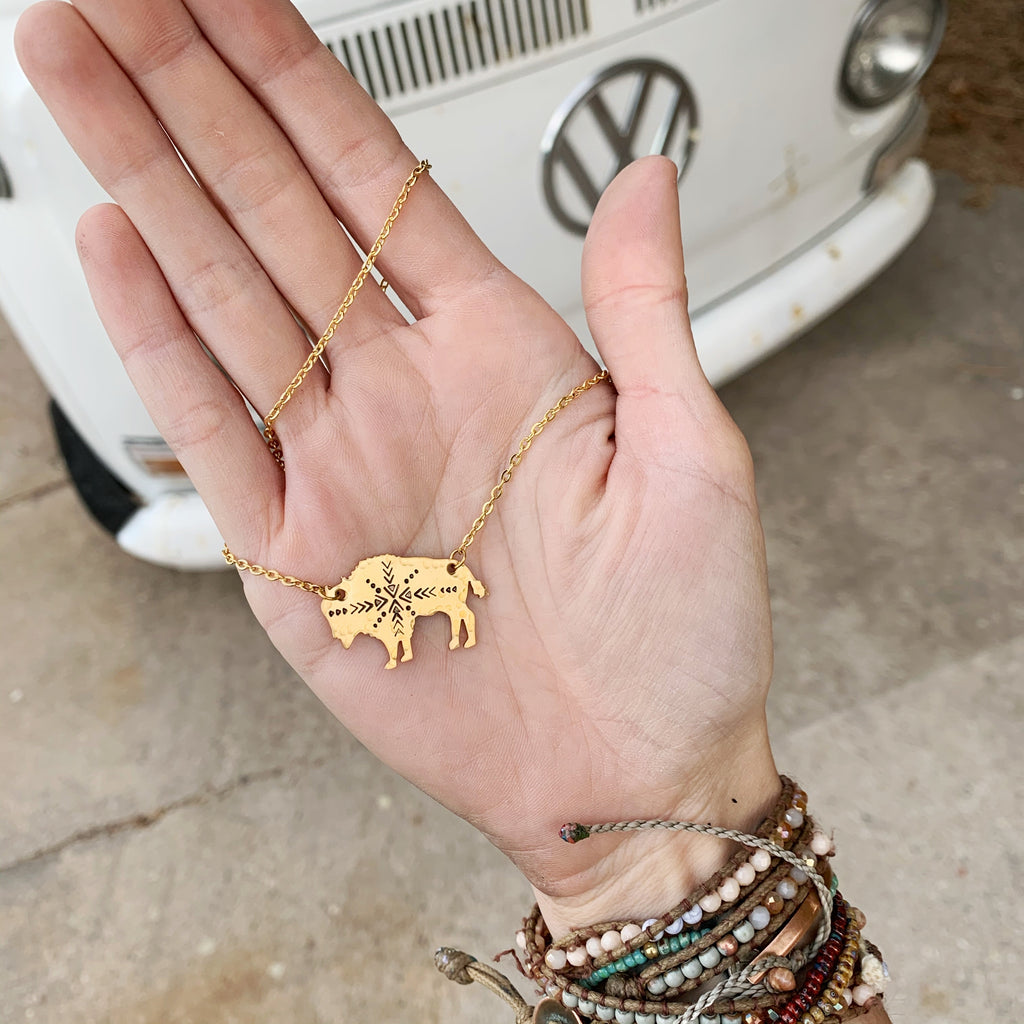 Aztec Bison Necklace // Gold