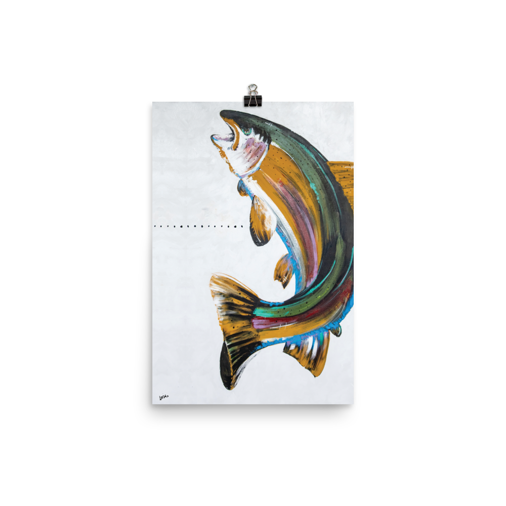 Rainbow Fish Face Print