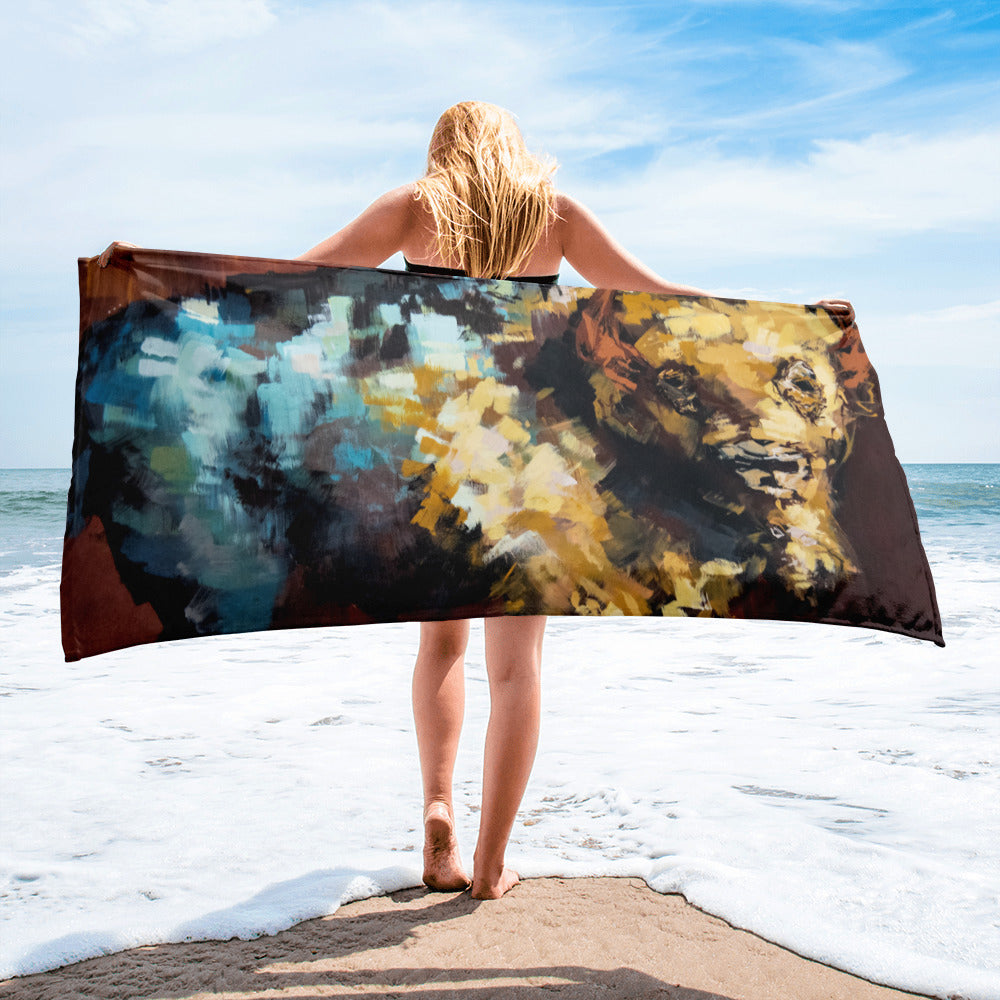 Finn the Bison Oversized Beach Towel