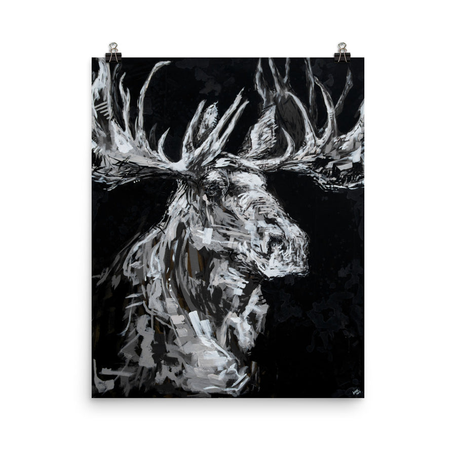 The Black + White Moose Print