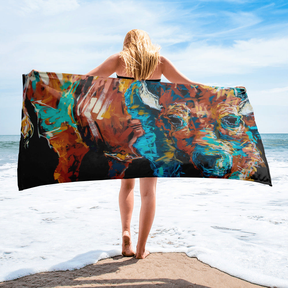 Tabitha the Bison Oversized Beach Towel