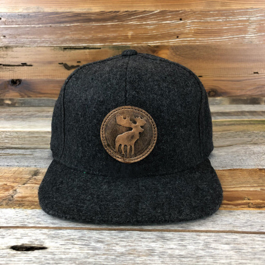 Go Slo Leather Moose Wool Cap