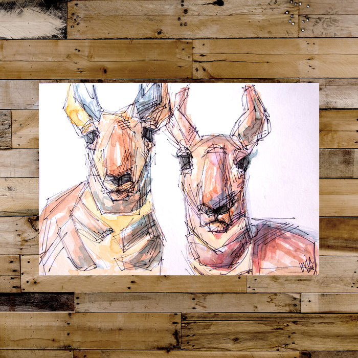 Stacey + Beau the Pronghorns Watercolor Original