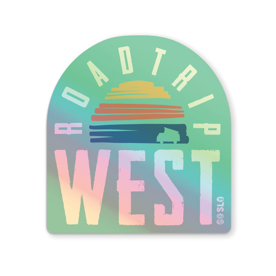 Holographic Roadtrip West Sticker