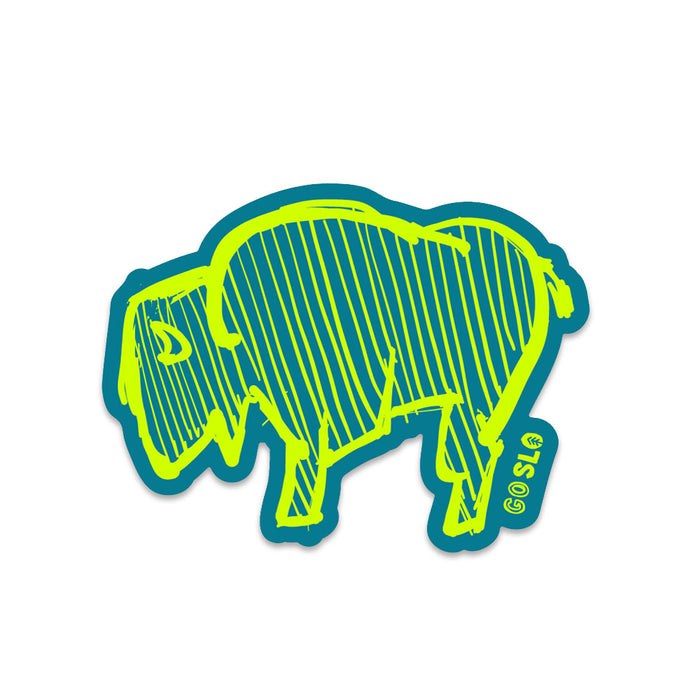 Neon Squiggle Bison Sticker