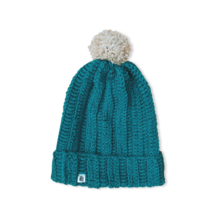 Teal Slouch Pommed Knit Cap