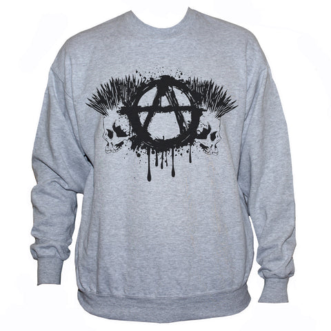 Anarchist Skulls Punk Rock Grey Sweatshirt