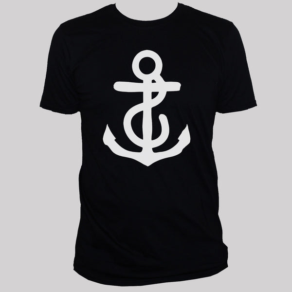 anchor t shirt mens/womens tattoo rockabilly holiday top black Size S M L XL XXL