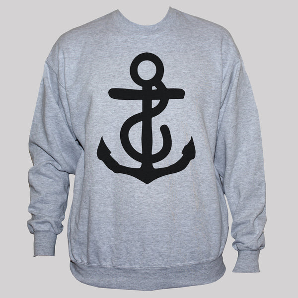 Anchor Sweatshirt Nautical Tattoo Rockabilly Jumper Grey S M L XL