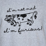 Mad Furious Cow Vest/ Feminist Funny Graphic Unisex Top Grey